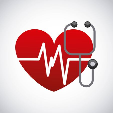 heart health: Medical and health care concept represented by heart and stethoscope icon. Colorfull and flat illustration. Illustration