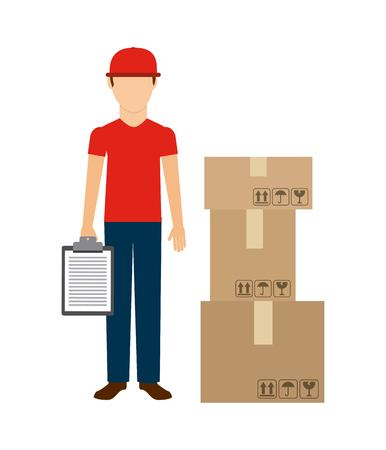 Delivery and Shipping concept represented by delivery man package and check list icon. Colorfull and flat illustration.