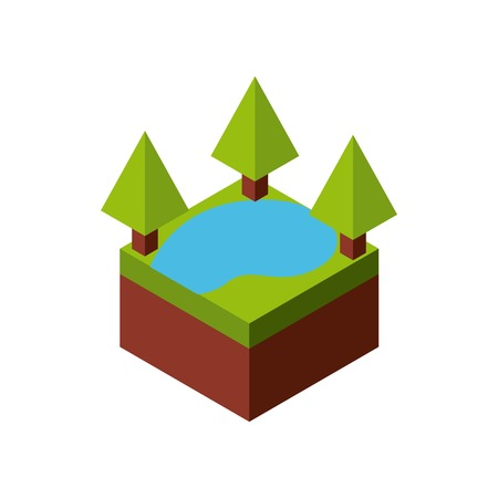 millimeters: Isometric concept represented by green tree and lake  icon. Colorfull and geometric illustration.