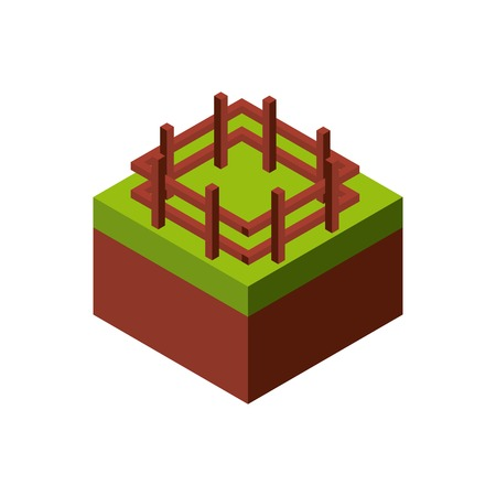 millimeters: Isometric concept represented by wood fence icon. Colorfull and geometric illustration.