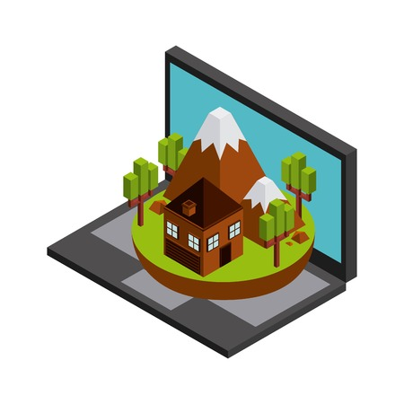 millimeters: Isometric concept represented by laptop house mountain trees icon. Colorfull and geometric illustration.