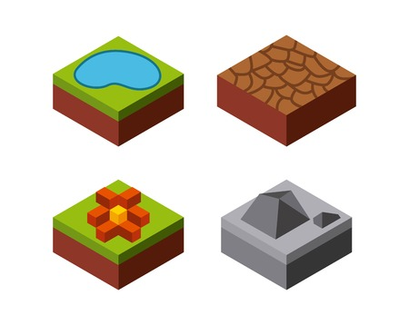 millimeters: Isometric concept represented by lake stone flower grass desert icon. Colorfull and geometric illustration.