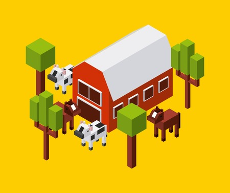 millimeters: Isometric concept represented by farm cow trees horse icon. Colorfull and geometric illustration. Illustration