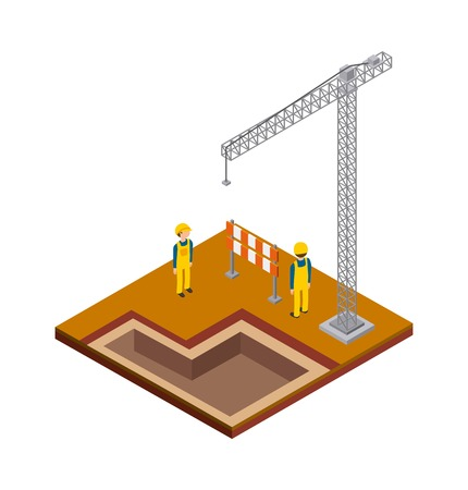 millimeter: Isometric concept represented by crane constructer barrier icon. Colorfull and geometric illustration.