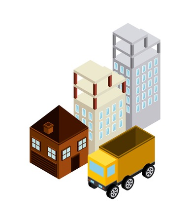 lorries: Isometric concept represented by building truck house icon. Colorfull and geometric illustration.