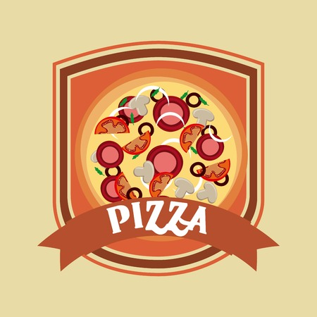 consume: Fast food concept represented by pizza icon inside shield shape. Colorfull and vintage illustration.