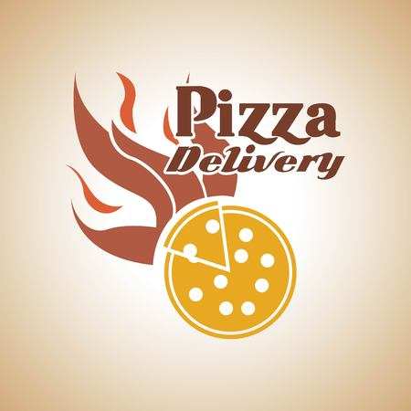 consume: Fast food concept represented by pizza with flame icon. Colorfull and vintage illustration.