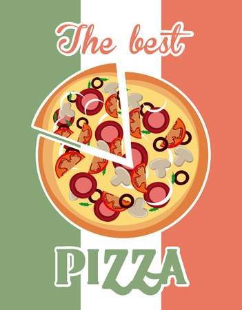 Fast food concept represented by pizza icon. Colorfull and vintage illustration. Italy flag background.