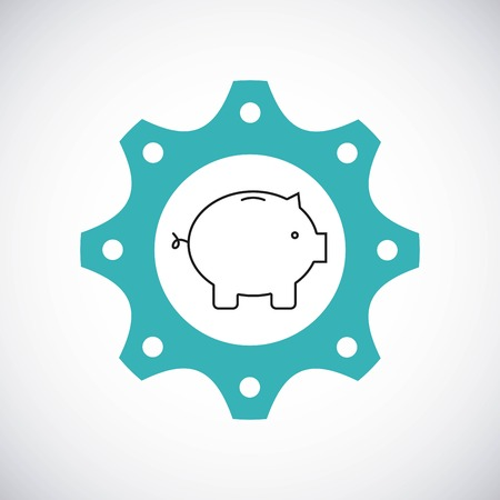 financial item: Gear design with piggy icon inside. Colorfull and flat illustration. Illustration