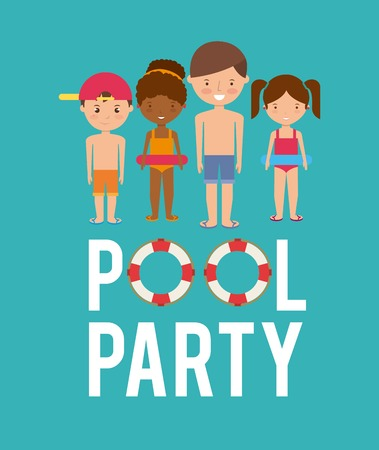 swimming to float: Swimming and pool party concept represented by kids cartoon and float icon. Colorfull and flat illustration. Illustration