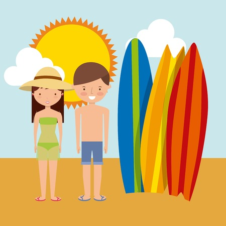 couple in summer: Summer and vacation concept represented by surf board couple cartoon and sun icon. Colorfull and flat illustration.