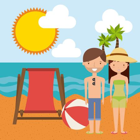 couple in summer: Summer and vacation concept represented by chair couple cartoon sea and sun icon. Colorfull and flat illustration. Illustration