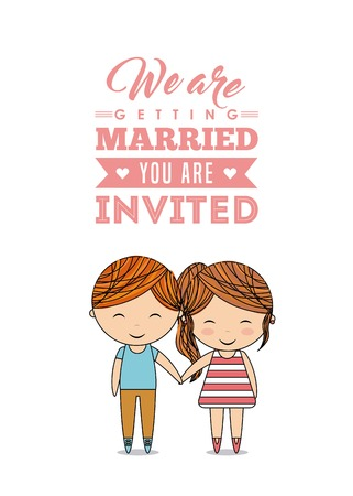 event planner: Invitation and save the date concept represented by cute couple cartoon of girl and boy icon. Colorfull and flat illustration. Illustration
