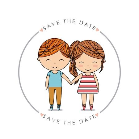 Invitation and save the date concept represented by cute couple cartoon of girl and boy icon. Colorfull and flat illustration. Illustration