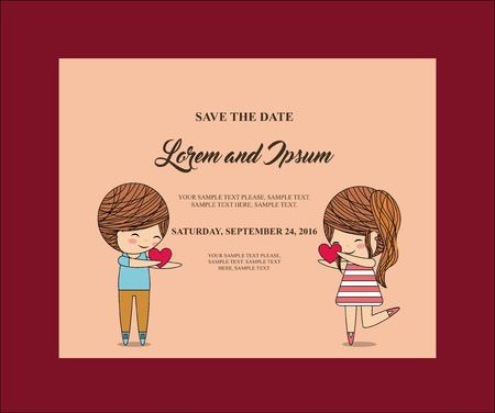 couple date: Invitation and save the date concept represented by cute couple cartoon of girl and boy icon. Colorfull and frame illustration.