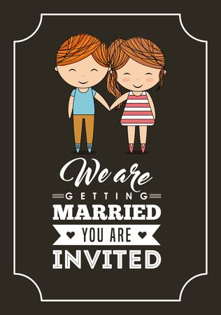 event planner: Invitation and save the date concept represented by cute couple cartoon of girl and boy icon. Colorfull and frame illustration.