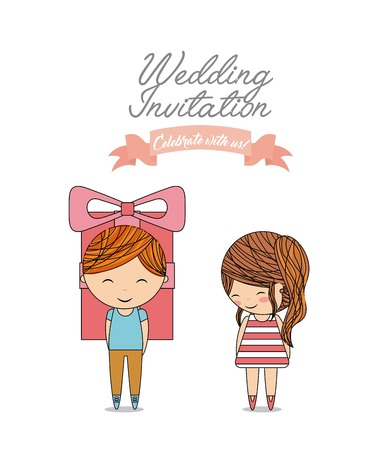 Invitation and save the date concept represented by gift cute couple cartoon of girl and boy icon. Colorfull and flat illustration.