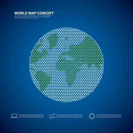 environment geography: World and Map concept represented by earth icon. Colorfull and flat illustration. Illustration