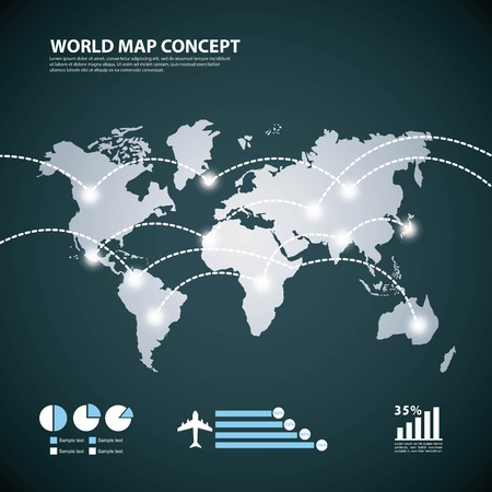environment geography: World and Map concept represented by earth and lights icon. Blue illustration.