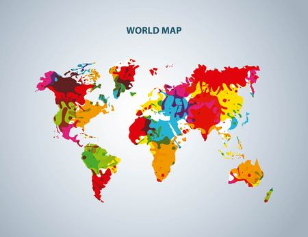 environment geography: World and Map concept represented by earth icon. Colorfull and splash illustration.