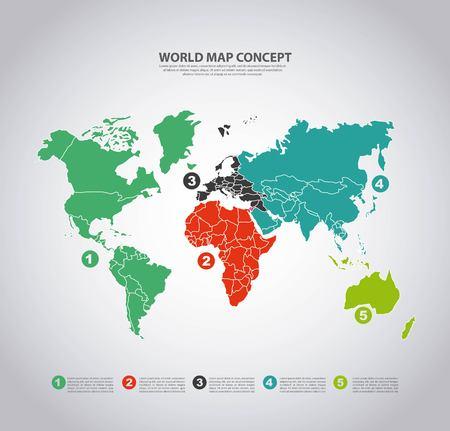 世界と地図の概念が地球とインフォ グラフィックのアイコンで表されます。カラフルとフラットの図。