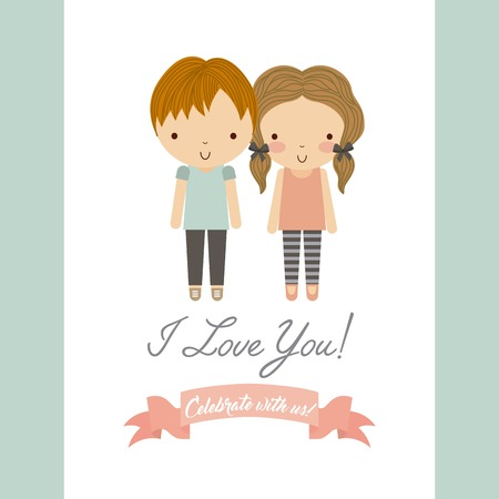 couple date: Save the date and invitation concept represented by cartoon couple icon. Colorfull and flat illustration.
