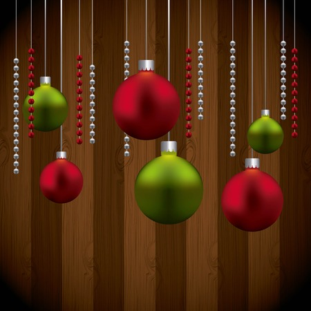 Merry Christmas concept represented by spheres icon. Colorfull illustration. Wood background.