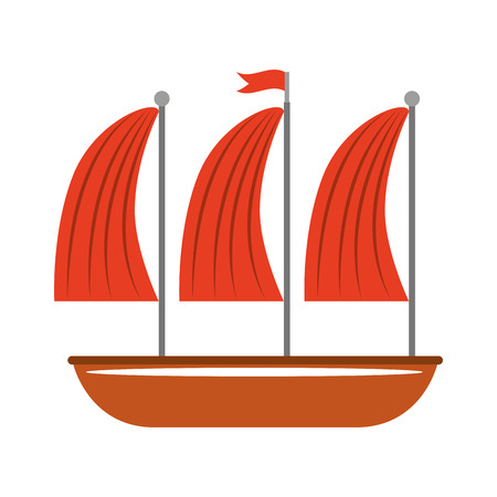 maritime: ship sailboat maritime icon vector isolated graphic Illustration