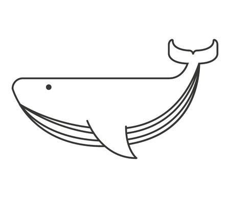 whale big sea icon vector isolated graphic Çizim