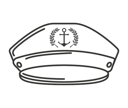 mariner: captain sailor anchor hat vector isolated graphic Illustration