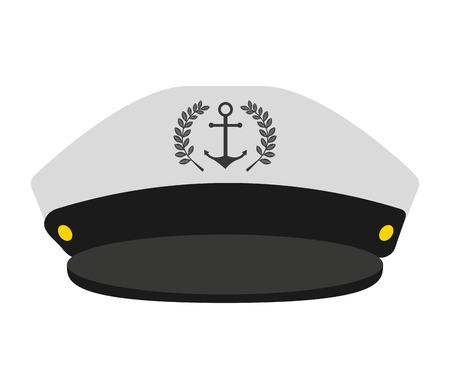vecteur capitaine marin ancre chapeau isolé graphique
