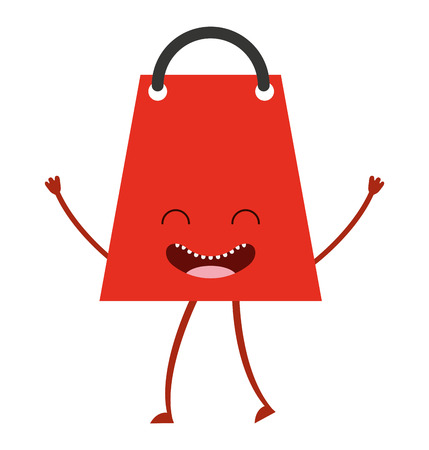 bagful: shopping bag character icon vector isolated graphic Illustration