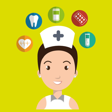 practitioner: nurse medical uniform woman graphic vector illustration