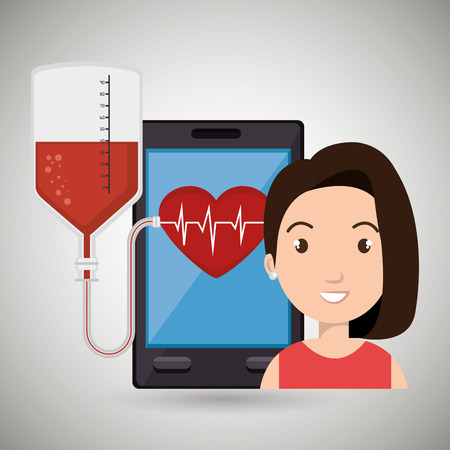 cardiograph: woman young blood smartphone vector illustration