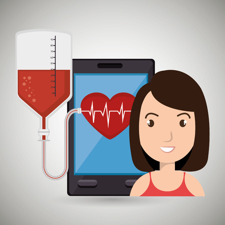 pulsating: woman young blood smartphone vector illustration