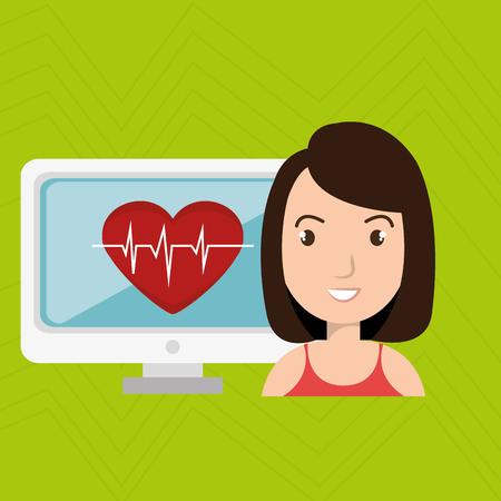 cardiograph: nurse medical uniform woman graphic vector illustration