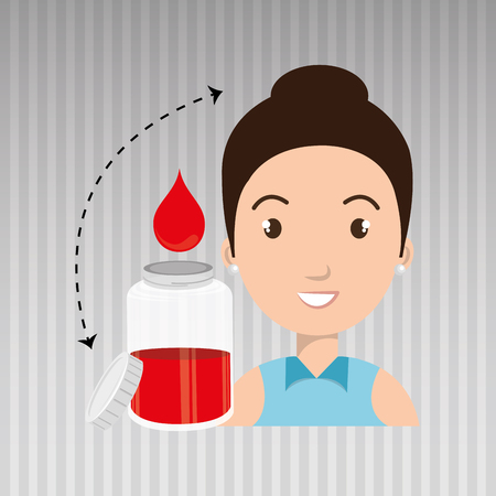 woman young blood donor vector illustration