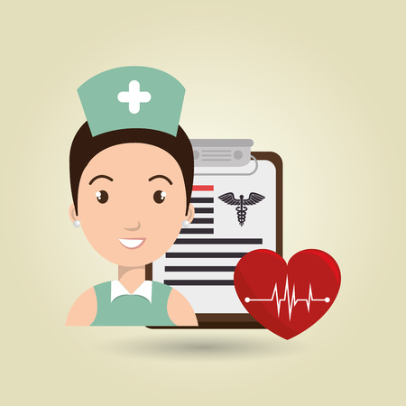 nurse home: nurse heart clipboard medicine vector illustration graphic Illustration