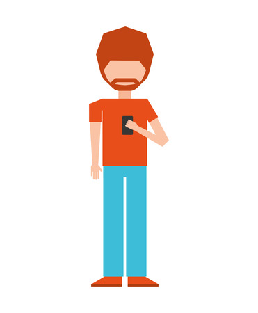 using smartphone: woman female young using smartphone icon vector isolated graphic Illustration