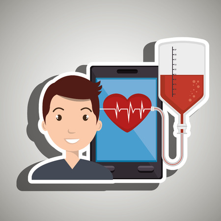 tecnology: man cardiology screen tecnology graphic vector illustration Illustration