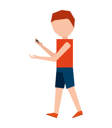 using smartphone: male young using smartphone icon vector isolated graphic Illustration