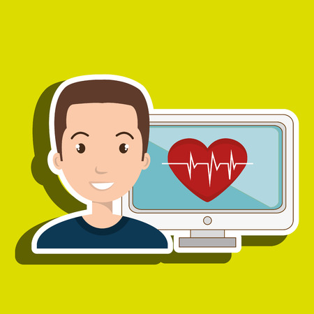 electrocardiograma: man cardiology screen technology graphic vector illustration Vectores