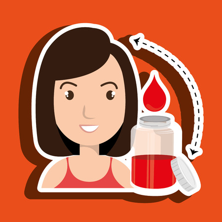 pulsating: woman young blood donor vector illustration