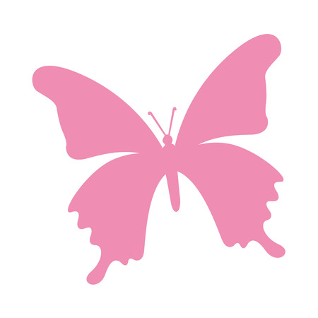 butterfly isolated: butterfly pink silhouette icon vector isolated graphic