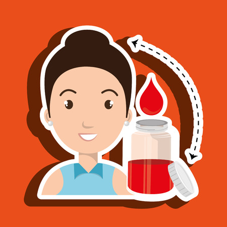 transfuse: woman young blood donor vector illustration
