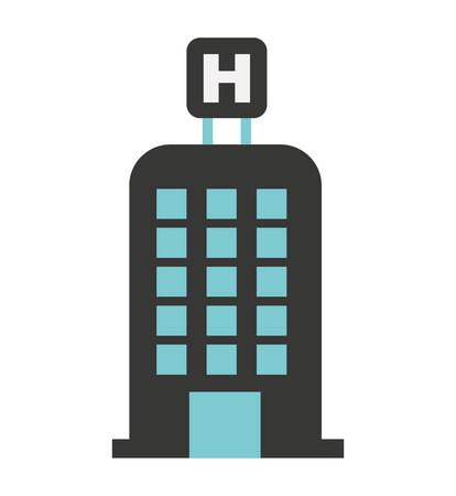 hotel building: hotel building h icon vector isolated graphic Illustration