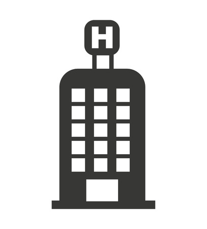iconic architecture: hotel building h icon vector isolated graphic Illustration