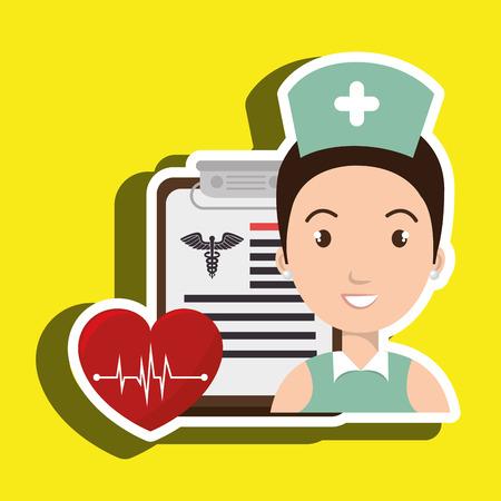 pulsating: nurse heart clipboard medicine vector illustration graphic Illustration