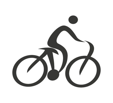 competitions: human figure silhouette bicycle icon vector isolated graphic