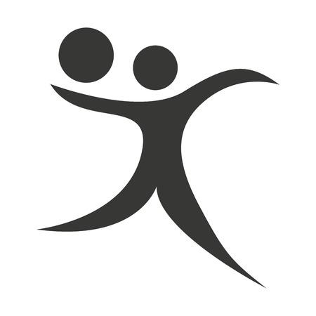 balon de voley: aislado figura humana silueta sporter atleta icono de gráficos vectoriales Vectores